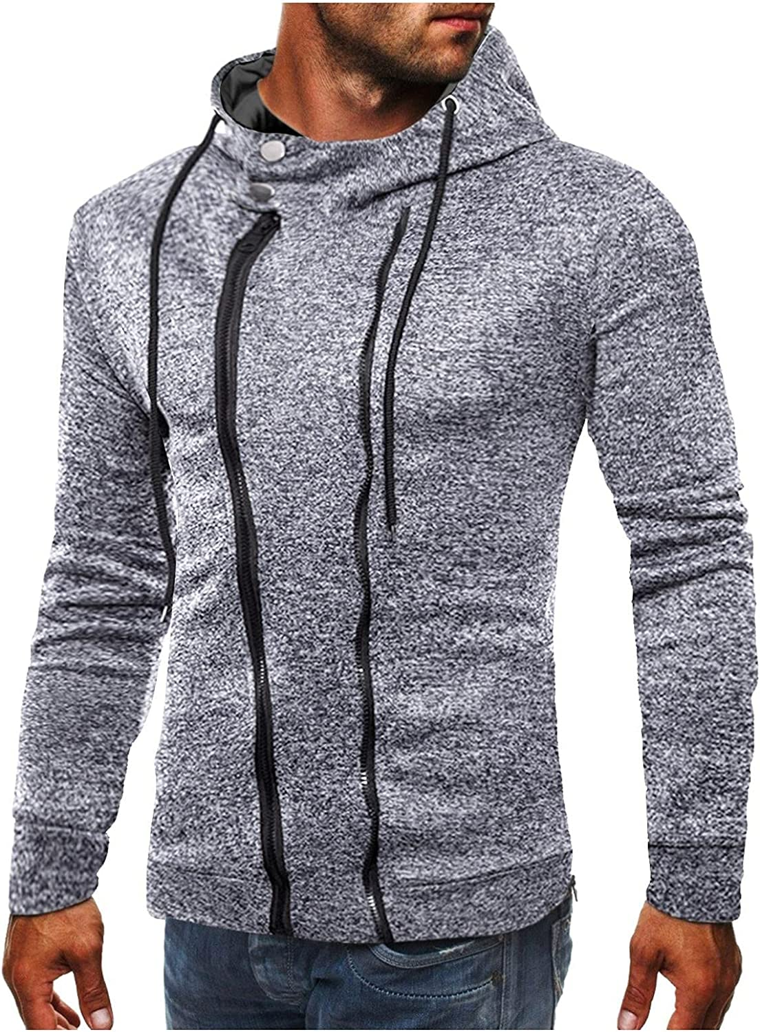Qsctys Men's Zipper Hoodies Sports Gym Workout Sweatshirts Zip Up Fashion Long Sleeve Shirts Slim Blouse Hooded with Pocket