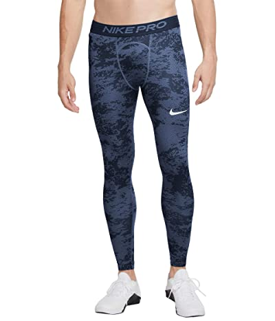 Nike Pro Tights All Over Print (Mystic Navy/White) Men