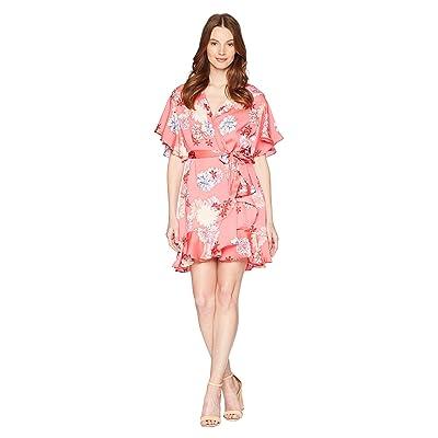 BB Dakota Kirsten Blossom Printed Wrap Dress (Bright Pink) Women