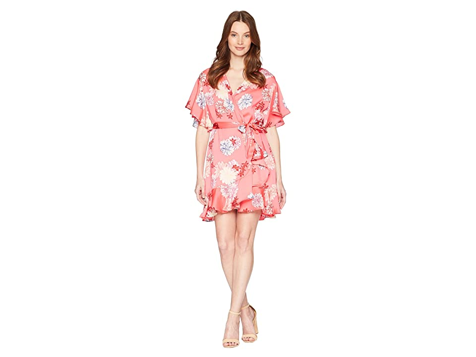 BB Dakota Kirsten Blossom Printed Wrap Dress (Bright Pink) Women