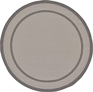 Unique Loom Outdoor Border Collection Casual Solid Transitional Indoor and Outdoor Flatweave Gray  Round Rug (6' 0 x 6' 0)
