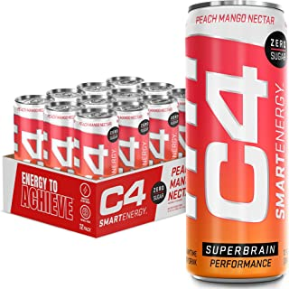 C4 Smart Energy Sugar Free Energy Drink 12oz (Pack of 12) - Peach Mango Nectar - Performance Fuel & Nootropic Brain Booste...