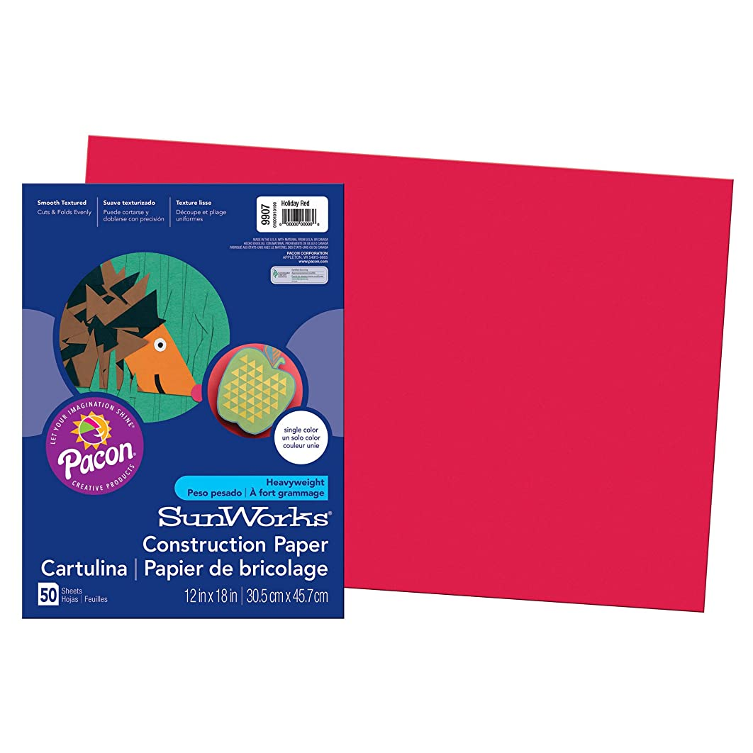 SunWorks Construction Paper, Holiday Red,  12