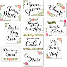 Wedding Photo Booth Sign Props - Set of 5 - Double Sided, Floral Style Hard Plastic Prop Signs