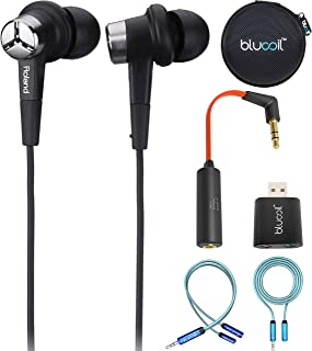 Roland CS-10EM Binaural Microphone / Earphones Bundle with iFi Ear Buddy Attenuator Cable, Blucoil USB Audio Adapter, 6-FT Headphone Extension Cable, Earphone Hard Case, and Y Splitter for Audio, Mic