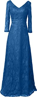 CladiyaDress Women V Neck Lace Floor Length Mother of The Bride Dress with Sleeves D215LF