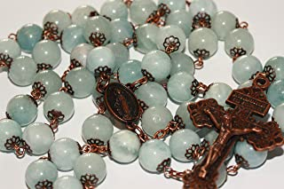 Smooth Bead Aquamarine March Birthstone in Copper Bead Rosary Made in Oklahoma with Pardon Crucifix
