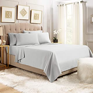 Empyrean Stronger Bed Sheet Set – Holds Longer 110 GSM Heavyweight Luxury Soft Brushed Microfiber - 6 Piece Sheets with 4 Pillowcases - Tight Fit Straps Fitted Sheet – Queen Size, Silver Light Gray