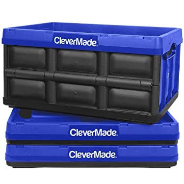 CleverMade 32L Collapsible Storage Bins - Durable Plastic Folding Utility Crates, Solid Wall Stackable Containers for Home & Garage Organization, Royal Blue, 3 Pack