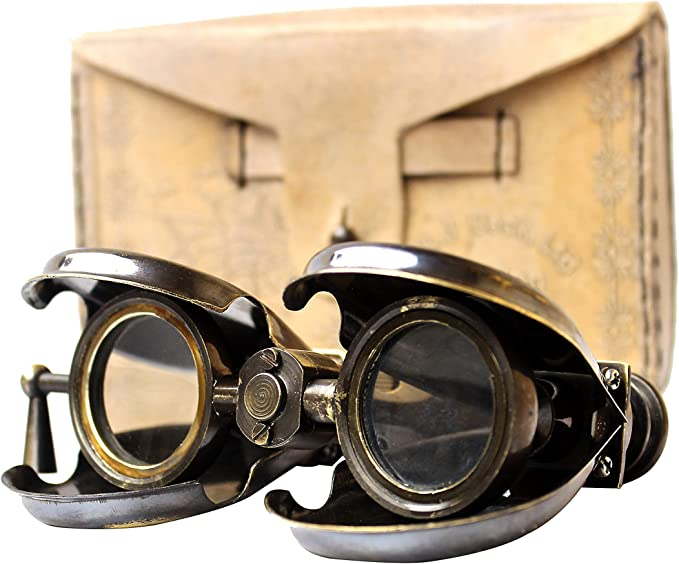 Steampunk Accessories | Goggles, Gears, Glasses, Guns, Mask Vintage Antique Spy Glass 1857 R & J Beck Brass Binocular with Leather Case  AT vintagedancer.com
