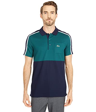 Lacoste Short Sleeve Two-Color Stripe Polo