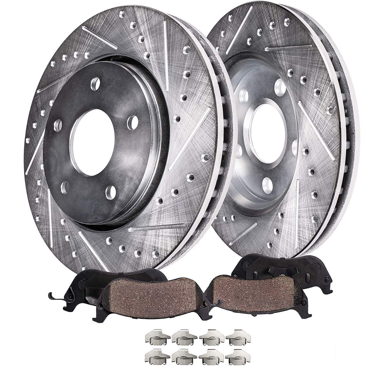 FRONT /& REAR Drilled /& Slotted Brake Kit Rotors /& Ceramic Brake Kit Pads w//Hardware fits 2007-2013 Acura MDX - 2010-2013 Acura ZDX - 2009-2015 Honda Pilot Detroit Axle