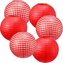 Picnic Party Decorations Paper Lanterns Round Hanging Lanterns Picnic Party Lanterns for Summer Barbecue Birthdays Holidays Picnic Party Supplies (White and Red Plaid, Pure Red, 6 Pieces)