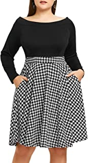 Chorchi Women's Off The Shoulder Fit Flare Plus Size Swing Dress Pockets
