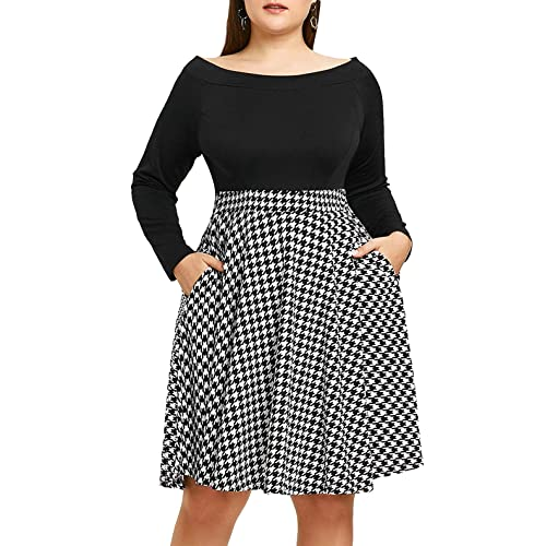c5b3751e6e0 Chorchi Women s Off The Shoulder Fit and Flare Plus Size Swing Dress with  Pockets
