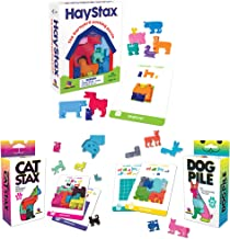 Brainwright Cat STAX The Perrfect Puzzle; Dog Pile The Pup-Packing Puzzles Gift Set Hay STAX The Barnyard Packing Puzzle (3 Puzzles)