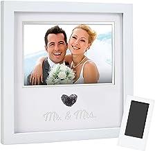 مجموعة إطار الصورة التذكارية والمطبوع على شكل قلب من بيرهيد، سجل الزفاف، هدية الزفاف، أبيض
