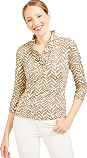 J.McLaughlin Womens Durham Ruffle 3/4 Sleeve Top in Tigre