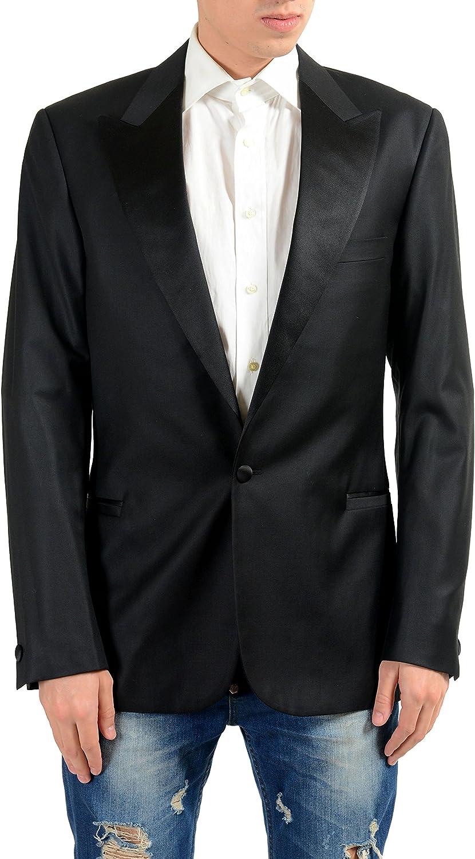 Versace Men's 100% Wool One Button Tuxedo Blazer Sport Coat US 40 IT 50 Black