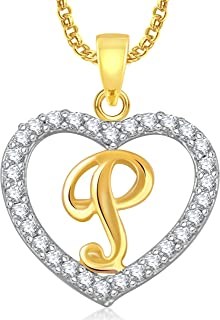 MEENAZ Stylish Jewellery Gold Plated 'P' Letter Heart Pendants for Girls Women Men Unisex Locket Alphabet Pendant with Cha...