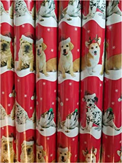 Festive Christmas Holiday Dog Pet Gift Wrapping Paper 40 sqft