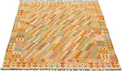 "eCarpet Gallery Area Rug for Living Room, Bedroom | Hand-Knotted Wool Rug | Bold and Colorful Bordered Ivory Kilim 5'2"" x 6'5"" 