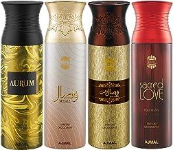 Ajmal Aurum & Wisal & Wisal Dhahab & Sacred Love Deodorant Spray For Men & Women 200ml each (Pack of 4, 800ml) + 4 Parfum ...