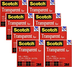 Scotch Transparent Tape, Narrow Width, Engineered for Office and Home Use, 1/2 x 1296 Inches, 2 Rolls (600H2), 4 Pack