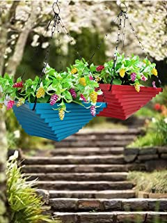 Planters Hub Twisted Hanging Plastic Flower Pots with Metal Hanging Chain for Indoor Outdoor Balcony Plants Garden Decor (...