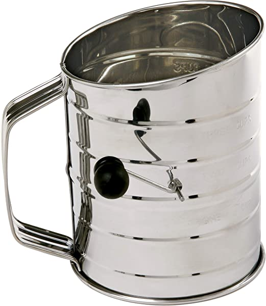 Norpro 3 Cup Stainless Steel Rotary Hand Crank Flour Sifter With 2 Wire Agitator