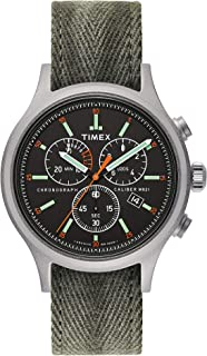 Men's Allied Chrono 42mm Fabric Strap Watch, Bead Blasted/Black Dial/Army Green (TW2U27300LG), One Size