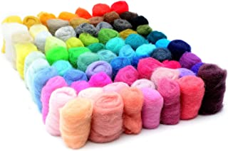 Glaciart One Wool Roving for Felting - 70 Colors (6grams per Color) Unspun Needle Felt Roving and Felting Supplies - Multi Colored Soft Raw Fiber for Fabric, Material and Crafting