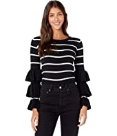 Rib Tiered Long Sleeve Cropped Sweater