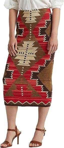 Southwestern-Print Cotton-Linen Skirt