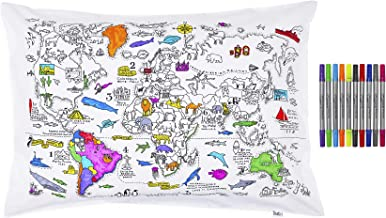 eatsleepdoodle Colour & Learn world map cotton pillowcase with wash-out fabric pens