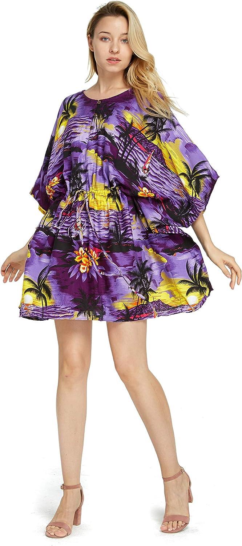 Women's Hawaiian Short Tie Poncho Top Dress in Sunset Patterns