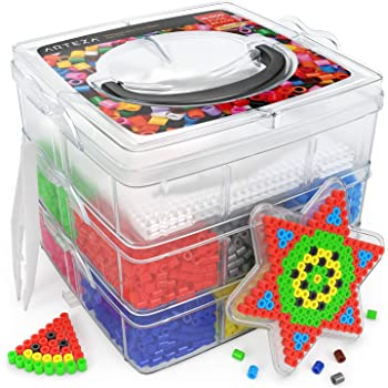 ARTEZA Cuentas y Abalorios hama Beads | 10.000 Cuentas para Collares | 5 mm | Pinzas y 5 Papeles para Planchar | Caja de 3 Niveles | Cuentas y Abalorios para mosaicos y Manualidades Infantiles: Amazon.es: Juguetes y juegos