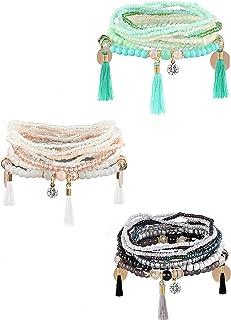 Milacolato 3-6 Sets Bohemian Beaded Bracelets for Women Multilayer Stretch Stackable Bracelet