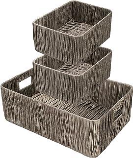 Geisbut Hand-Woven organizer baskets storage basket set for shelf organizing pantry closet bathroom baskets Nesting organi...
