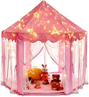 otmake Princess Castle Tent,Otamke Girls Play Tent with Cute Star Light Strings , and Large Playhouse for Kids Pretend Play Game (Pink)