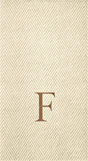 Caspari Natural Jute Boxed Paper Linen Guest Towel Napkins in Letter F - Pack of 24