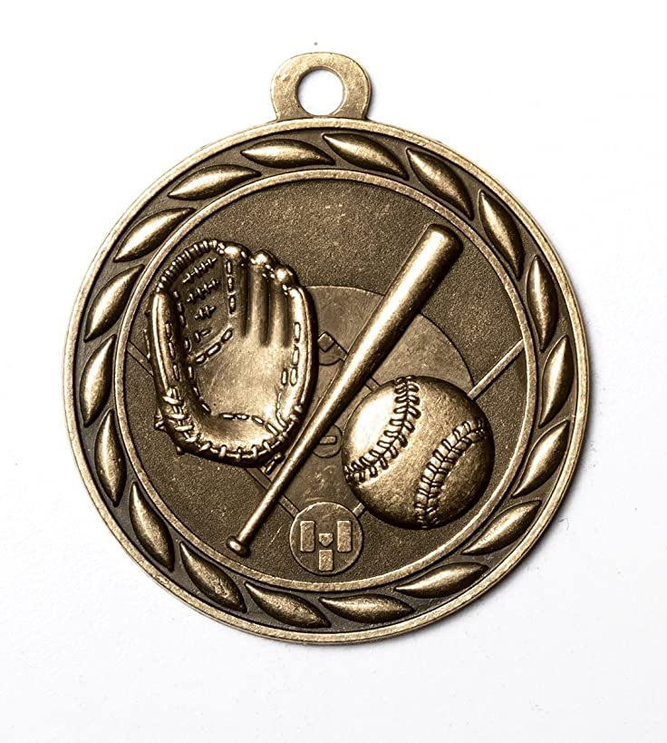 2 Inch Baseball Medal in Antique Brass Attached to Ribbon - Pack of 12