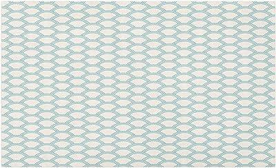 Ambesonne White Doormat, Simplistic Minimalist Design Maritime Oceanic Coastal Theme Water Splash Print, Decorative Polyester Floor Mat with Non-Skid Backing, 30 W X 18 L Inches, Turquoise Cream