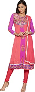 Florence Women's georgette straight Salwar Suit Set (SB-3385-Aug2019_ Pink_ One Size)