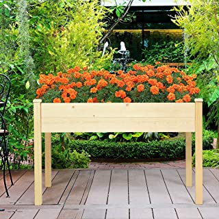 Home Outdoor Indoor Patio Garden Backyard Deck Raised Vegetable Plants Flower Planter Bed Elevated Grow Sturdy Solid Wood Spacious Deep Bed and Perfect Height Rustic Country Box Decor Easy Assembly