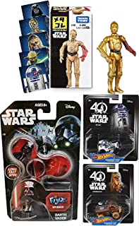 Droids & Cars Star Wars Character R2-D2 &Chewbacca 40th Anniversary Card Hot Wheels Bundled with Bonus Stickers & C3PO Metal Figure 4 Items