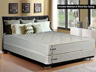 Continental Sleep, 9-Inch Gentle Firm Tight top Innerspring Mattress And Wood Traditional Box