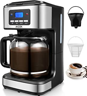 comprar comparacion Aicok Cafetera, Cafetera Goteo, Cafetera Goteo Programable, Cafetera Goteo Filtro Permanente, Jarra de Vidrio, 1.5 Litros,...