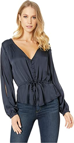 Silky Basics - Slit Blouson Sleeve Peplum Button Down