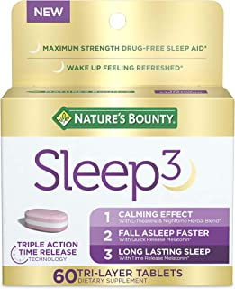Melatonin by Nature's Bounty, Sleep3 Maximum Strength 100% Drug Free Sleep Aid, Dietary Supplement, L-Theanine & Nighttime...